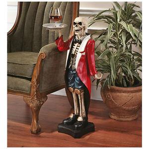 Gothic Skeleton Butler Pedestal Sculptural Table Haunting Halloween Server
