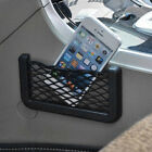 1pc Car Black Storage Resilient Net GPS Phone Bag Packet Holder With Adhesive