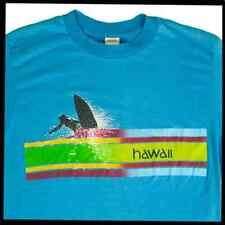 DESIGN HAWAII TEES Single Stitch Graphic T-Shirt 'Surfer' Blue Size Large 364 O