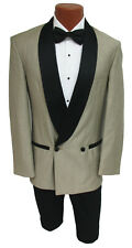 Men's Champagne Raffinati Double Breasted Tuxedo Jacket with Black Lapels 38L
