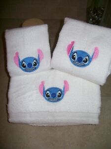 Stitch - 3 piece Embroidered Personalized bath towel set