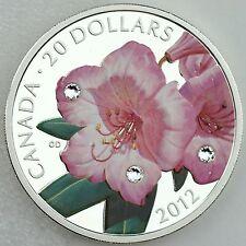 2012 $20 Rhododendron with 3 Swarovski Crystal Dewdrops Color 1 oz. Pure Silver