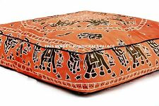 Indian Elephant Mandala Floor Pillow Cover Square Ottoman Daybed Cushion Cover