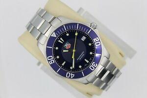 Tag Heuer Blue WAB1112.BA0801 Silver Aquaracer Watch Mens SS Mint Crystal Sport