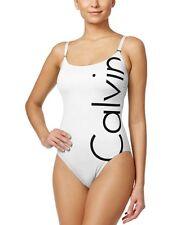 NWD Calvin Klein Women's Logo Classic One-Piece Swimsuit 16, Soft White CGMMS508