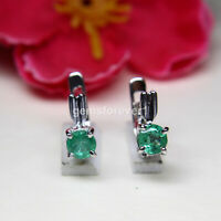 Natural Emerald Faceted Round Gemstone 925 Sterling Silver Women Stud Earrings