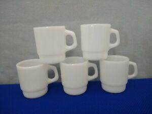 Vintage A/H Fire-King 8oz. Smooth Bottom Stacking Mugs~Anchorwhite~Set of Five