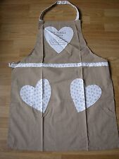 NEXT NATURAL MINK BEIGE HEARTS APRON OUR FAMILY RECIPE  100% COTTON BRAND NEW