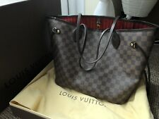 Louis VUITTON NEVERFULL MM-Damier Ebene Lona/Rojo * Original *