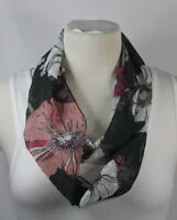 Infinity scarf, black theme, solid or floral or polka dots,chiffon,handmade