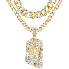 """Gold Plated Iced Jesus Pendant 24"""" Tennis & Cz Cuban Chain Necklace Tcmp 701 G"""