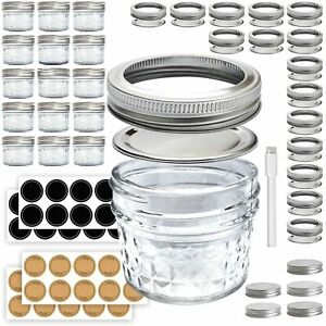 Mini Mason Jars 4 oz - Small Glass Jar with Lids - 15 Pack with Labels - Clea...