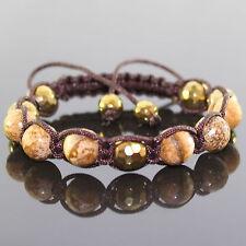 Damen braun Picture Jaspis Perlen Shamballa Armband verstellbar für Frauen