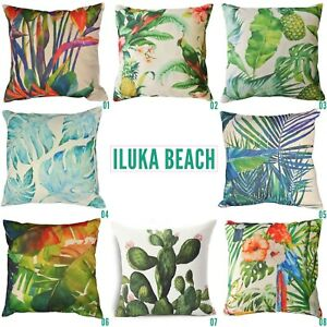 OUTDOOR CUSHION COVERS 45CM COTTON LINEN Tropical Palm Leaf Printed Pillows