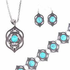 Women Vintage Tibetan Turquoise Necklace Bracelet Earrings Jewelry Sets Jian