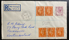 1955 West Kensington England Registered Cover To tynemouth Olympia Cancel