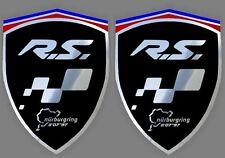 2 adhésifs stickers noir chrome RENAULT MEGANE RS  (à coller sur ailes avant)