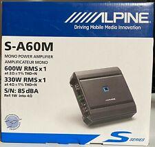 Alpine S-A60M S-Series mono subwoofer amplifier 600 watts RMS x 1 New SA60M