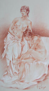 Franco Matania (1922-2006) - 20th Century Chalk Drawing, Two Nude Figures
