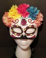 Mardi-Gras Sugar Skull Half Mask Venetian Masquerade Womens Crystal Sequin NEW