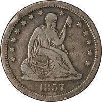 1857-S Seated Liberty Quarter Nice F/VF Key Date Nice Eye Appeal Nice Strike