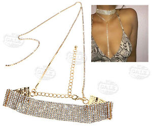 Women Bling Diamante Rhinestone Crystal Choker Bling Party Necklace Gold Color