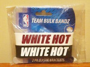 NBA Miami Heat White Hot Bulk Bandz Team Wristbands Elastic Bracelets 2-pack