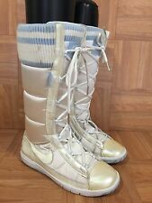 CUTE!💗 Nike Winter Hi 2 Boot Pearl White Knit Puff Blue 317244-111 Sz 6.5