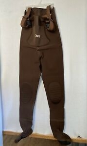 Orvis 2mm Chest High Adjustable Fly Fishing Waders Sz L Neoprene Foot Brown