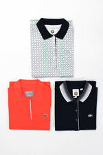Lacoste Mens Cotton Short Sleeve Polo Shirts White Coral Navy Blue Size 40 Lot 3