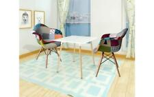 Pair Patchwork Dining Chairs Vintage Retro Kitchen Fabric Armchair Comfortable