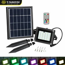 10W Solar Power RGB Flood Spot light Waterproof Garden Security Lamp Auto Remote