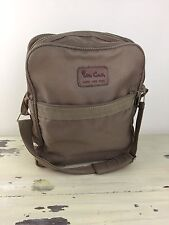 PIERRE CARDIN CARRY ON - Tan Shoulder Bag, Vertical w/ Zippers, Nylon, Luggage
