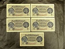 Germany WWII 5x5 Reichsmark Banknotes Set, Uncirculated, Sequentially Numbers