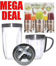 Nutribullet 600w/900w 24 OZ Tall + Small Cup + Cross Extractor Blade + Book UK
