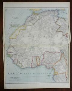 Northwest Africa Morocco Guinea Ivory Coast Benin 1914 huge detailed scarce map