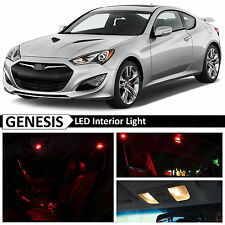 2010-2015 Genesis Coupe Red Interior + License Plate LED Lights Package Kit