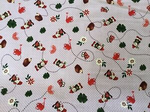 cotton 100% pretty gnomes magic hedgehogs butterflies mythical fantasy  lilac