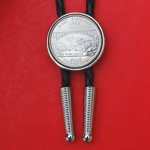 "2005 West Virginia State Quarter BU Coin Simple Silver Slide 36"" Cord Bolo Tie"