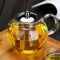 650/960/1300ml Heat Resistant Glass Teapot with Strainer Filter Infuser Tea Pot