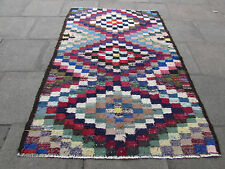 Old Traditional Hand Made Persian Oriental Kilim Wool Cotton Blue 227x153m