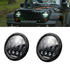 2X 7'' 300W Round LED Headlight Hi-Lo Beam Bulb For Jeep Wrangler JK TJ Black