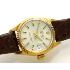 Ladies 18K Gold Rolex President Automatic Watch Leather Strap Orig Rolex Buckle