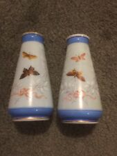 Antique Blue Opaline Glass Vases With Enameled Butterflies! Very Pretty!