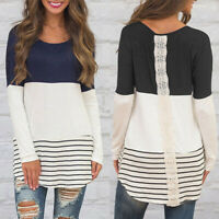 Pullover Tops Women Long Shirt Casual Blouse Sweatshirt Striped Sleeve T