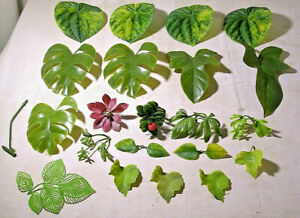 Bag of Plastic Artificial Leaves, Assorted Sizes,Greens, Purples and a Red berry