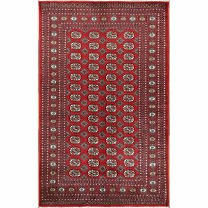 5'x8' Red Fine Mori Bokara Wool Elephant Feet Design Hand Knotted Rug R57989