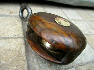 VINTAGE WOOD AND BRASS & IRON PULLEY SHEAVE OLD MARITIME MARINE TOOL