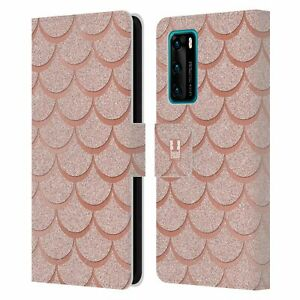 HEAD CASE DESIGNS MERMAID SCALES LEATHER BOOK CASE & WALLPAPER FOR HUAWEI PHONES