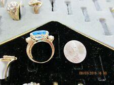 10k Gold Simulated Zircon Blue pear  Ladies December Birthstone Ring
